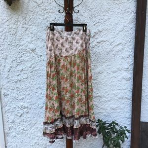 Free people patchwork ruffle maxi skirt
